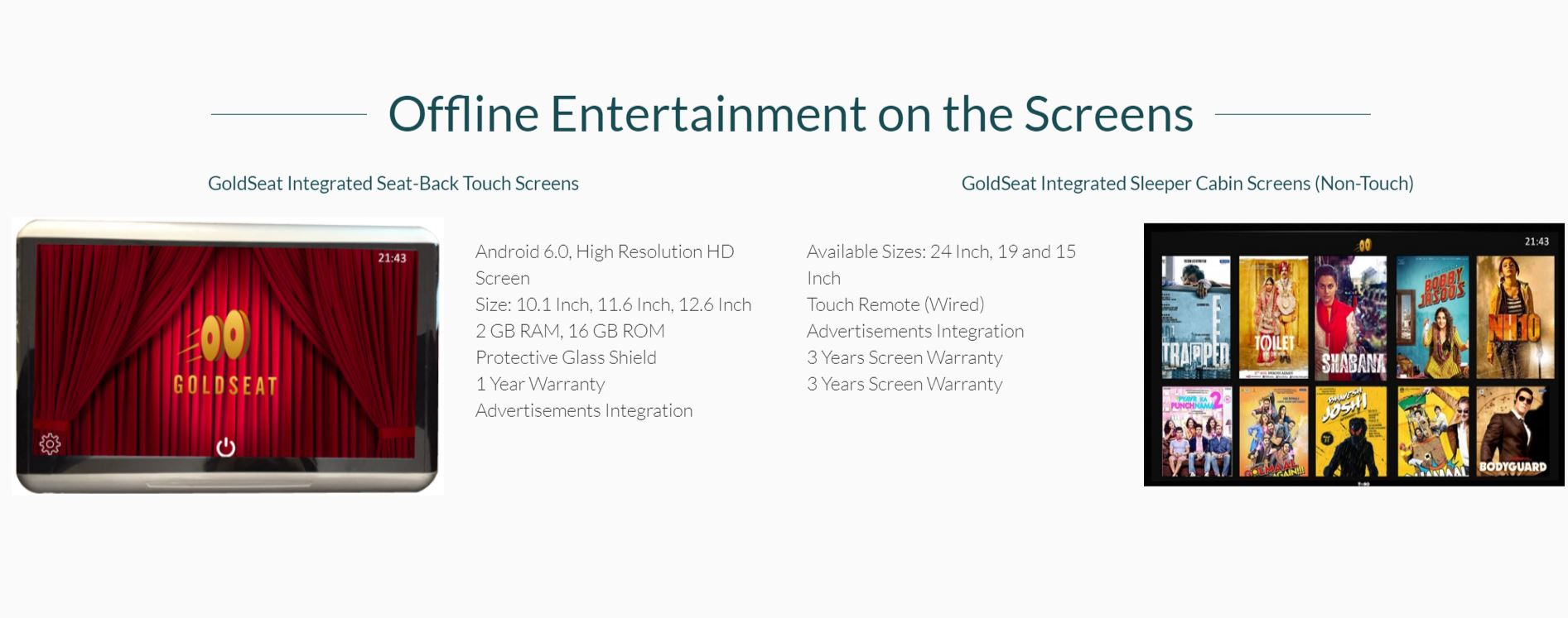 GoldSeat entertainment screens